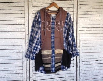 Hoodie Flannel Top, One Size, Upcycled Clothing, Hoodie Kaftan, Street-Wear