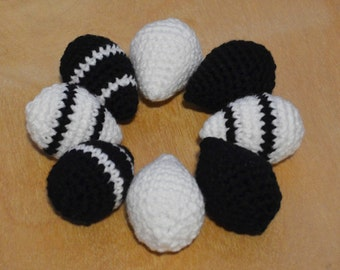 Easter Eggs, Crochet Eggs, Crochet Easter Eggs, Set of 8, Black and White Eggs