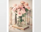 French decor, spring decor, large art, pink, rose quartz, girl nursery decor, peony print, book art, nursery wall art, flower photography