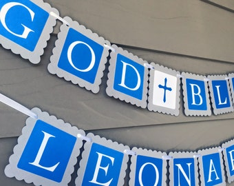 GOD BLESS Banner | Baptism Banner | Silver and blue Banner | First Communion Banner | Christening Banner | Design your own Banner