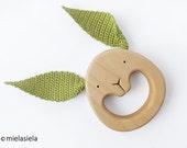 Wooden Teething Baby Toy - Wooden Teether - Rabbit - Bunny ear teether - green