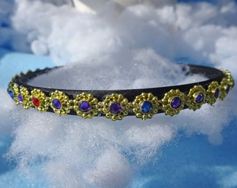 Gold Thin Headband, Colored Rhinestones, adult headband women, 20's headband, bridal headband, wedding headband, gold rhinestone, headband