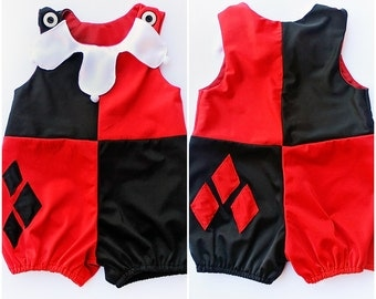 Toddler Harley Quinn Costume Romper Shorts Jumpsuit Handmade Unique - Ready to Ship - Sz 1