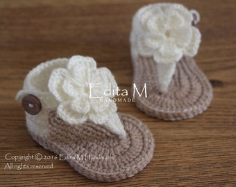 Crochet baby sandals, gladiator sandals, baby booties, baby shoes,0-3, 3-6 months, summer shoes, flower sandals, gift for baby, baby shower