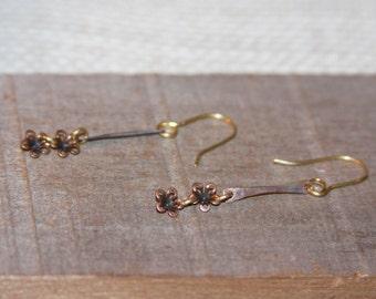 Delicate Flower Earrings, Stick Bar Dangle Earrings, Flower Blossom Earrings, Rustic Earrings, Brass Earrings, Gift Women, Gifts for Her
