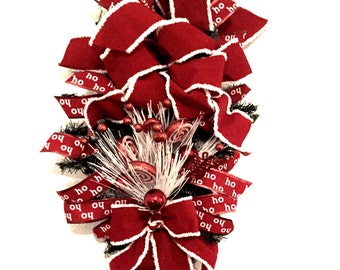 New Handmade Christmas Door Wreath Door Swag Wall Wreath Red and White