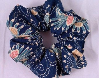 Silk hair scrunchie tie made with vintage kimono silk - indigo blue floral pattern