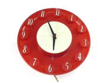 Red Spartus Clock Herold Products Model 522 Works