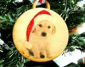 Retriever Puppy Santa Gift tag / Christmas Ornament
