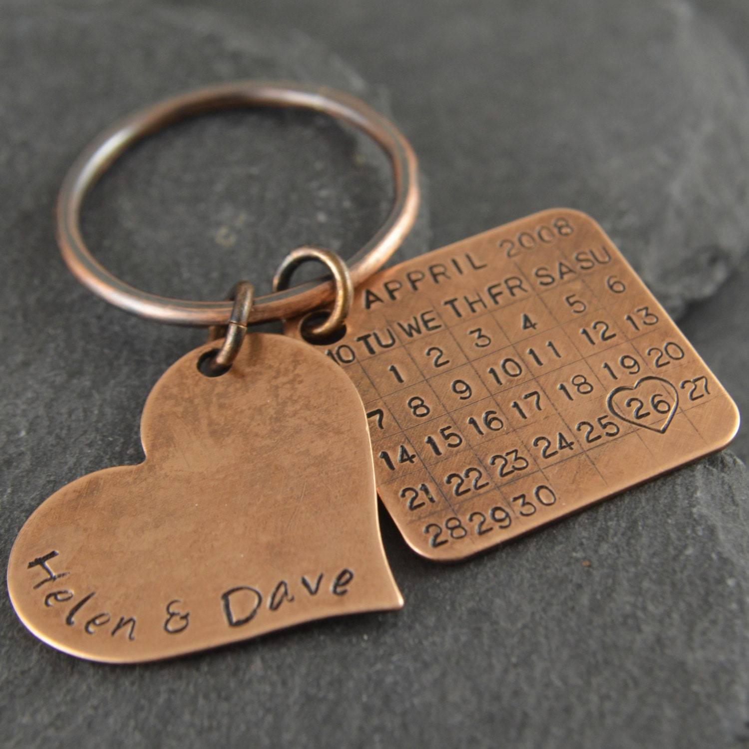Eighth Wedding Anniversary Traditional Gift: Bronze Anniversary Keychain. Bronze Gift 8th Anniversary