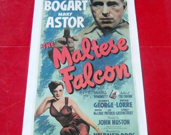 Humphrey Bogart Movie Poster The Maltese Falcon 1941 Warner Bros Litho Vintage Renewed 1969 United Artists RARE Print Continental Litho Corp