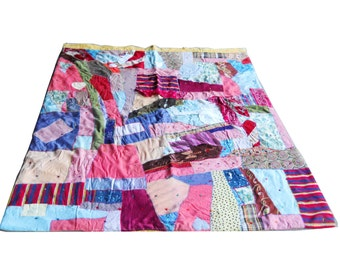 Vintage 1930s Crazy Quilt Tattered Silk Cotton Victorian Crazy Quilt Bedspread Plumage Print French Country Farmhouse Homespun Pieced Spread