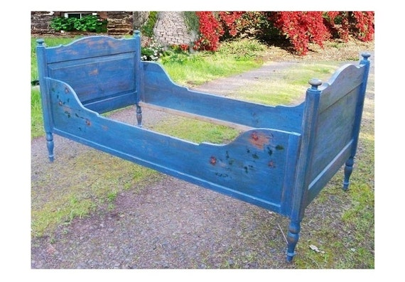 Antique 1870s Pine French Country Bed Victorian Prairie Farmhouse Cottage Crackled Blue Paint Vintage Childrens Tall Sleigh Rail Bed