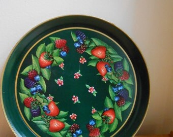 Strawberry kitchenware / Serving Tray / Round Metal Tray