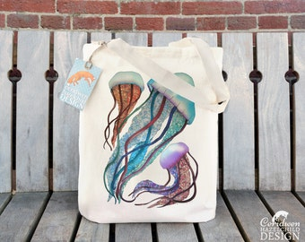 Jellyfish Tote Bag, Ethically Produced Reusable Shopper Bag, Cotton Tote, Shopping Bag, Eco Tote Bag, Reusable Grocery Bag