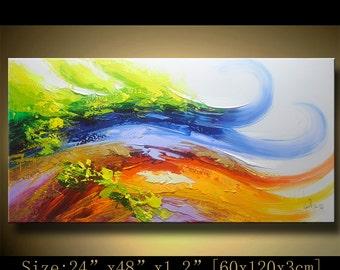 Abstract Wall Painting, expressionism Textured Painting,Impasto Landscape Painting  ,Palette Knife Painting on Canvas by Chen HH32