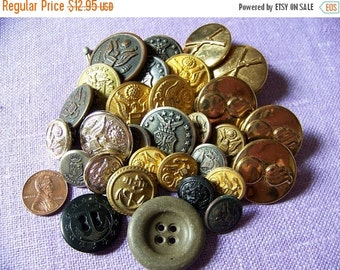 30% OFF SALE Vintage 30 Piece Military Button Lot