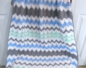 Crochet Baby Boy Blanket, Boy Crib Bedding, Toddler Kids Afghan