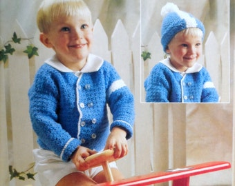 Baby Sweater Crochet Pattern, Toddler Boy Cardigan, Baby Hat Pattern