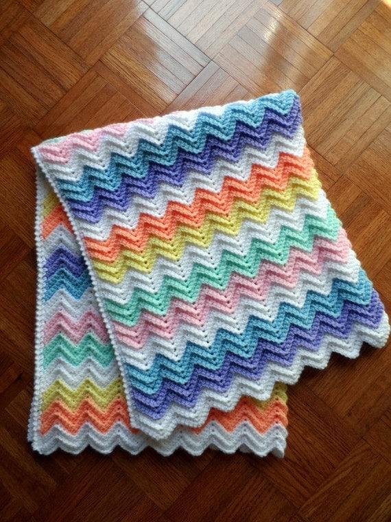 Crochet Rainbow Baby Blanket Pattern By Flavia : Baby Blanket Crochet Pattern, Rainbow Ripple, Baby Afghan ...