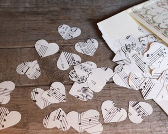Confetti, Wedding Decoration, Music Sheet Confetti, Paper Confetti, Table Scatters, 200 Tiny Hearts per package