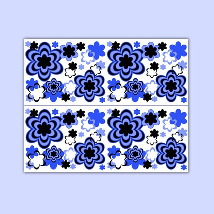 FLORAL WALLPAPER BORDER Decal Royal Blue Abstract By
