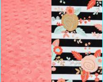 Carseat Baby Blanket Cotton Coral Mint Gold Floral Minky backing 19 colors Carseat Blanket Crib Blanket Minky Blanket