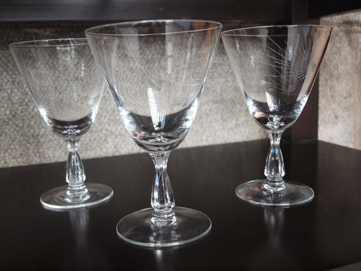 Set of 3 atomic era starburst water goblet glasses fostoria - Starburst glassware ...