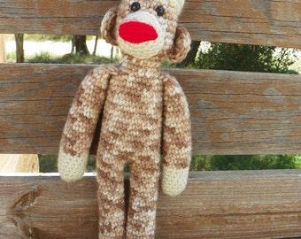 Crocheted Sock Monkey Doll