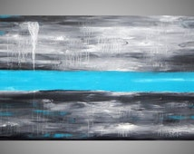 Painting Wall Art Large Canvas Art Wall Deco Grey Turquoise Acrylic Painting Abstract Landscape Canvas Modern 56 x24 MADE TO ORDER by ilonka
