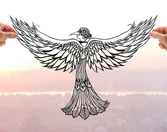 Inner Nature - Whimsical Art, Original Art, Paper Cut, Bird Artwork, Unique Gifts for Women, Unusual Gifts, Gift for Wife, Bird Wings, Art