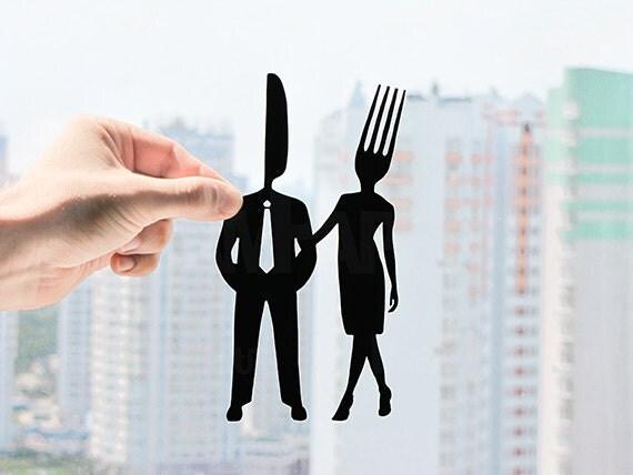 Fork and Knife Couple - Handmade First Wedding Anniversary Papercut Gift - UNFRAMED