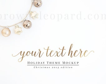 Christmas Styled Stock Photography - holiday theme; christmas mockup (MOC077) desktop, top view