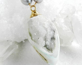 shell necklace, druzy necklace, druzy shell, fossilized shell, fossil jewelry, pearl necklace, gold necklace,  fossilized druzy shell