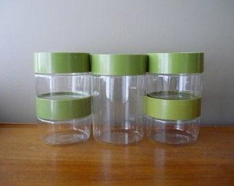 Vintage Pyrex Glass Canister Set, Retro Kitchen Storage Jars With Avocado Green Lids, 70's Kitchen