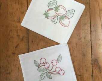 Pair of Hand-embroidered Flour Sack Dish Towels