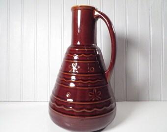 Vintage Brown Stoneware Coffee Carafe