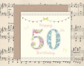 50th Birthday Card | 50th Birthday | 50th Card | Mum Card | Square card | Kraft Envelope | Pretty Florals | Birthday Card | Card for her