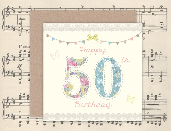 Pretty Handmade Floral 50th Birthday Card