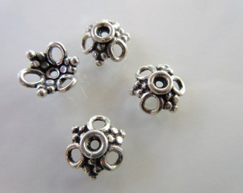 Four 925 Sterling Silver Fancy Bead Caps oxidized. 10mm x 10mm ornate bead caps silver bead caps BC103