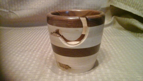 Handcrafted Wooden Yarn Bowl Walnut and Rustic Maple