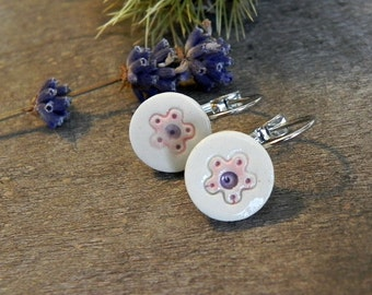 Ceramic Flower Earrings Pink Purple Porcelain White Floral Studs Natural Every Day Jewelry Dangle Earrings