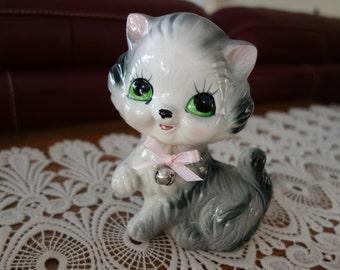 Vintage Cat Figurine, Mid Century, Gray, White, Green Eyes, Kitten, Kitty Cat, Feline, Kittys, Japan, Collectibles, Figurines, Knick Knacks
