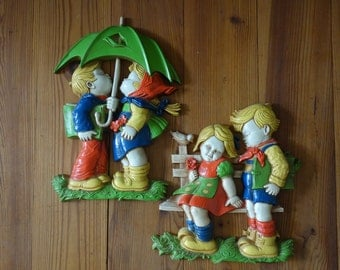 Vintage Plaques, 1970's, Wall Plaques, Boy and Girl, Homco, Wall Hanging, Plastic, Spring, Home Decor, Red Blue, Green Yellow, Wall Decor