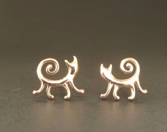 ROSE Gold Cat studs solid 14k kitty posts earrings rose gold handmade in USA