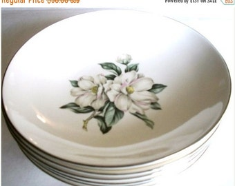 ON SALE Vintage Rhythm Homer Laughlin White Magnolia China set of six coupe soup or salad bowls Shabby Chic Cottage Chic