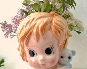 ON SALE Adorable Vintage Baby Boy With Teddy Bear Ceramic Planter Or Vase, Brinn's,  Made In Japan, Blue, Home Decor