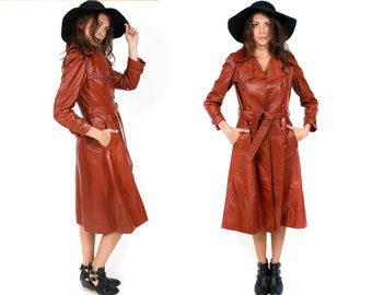 1970's Bisset Leather & Satin Trench Coat - Vintage