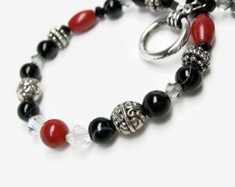 Black Onyx Bracelet red coral semiprecious gemstone beads Swarovski clear crystal  Pewter carved beads work to weekend bracelet