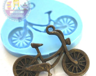 Small Bike Bicycle Charm 26mm Bakery Silicone Flexible Push Mold 223s* BEST QUALITY